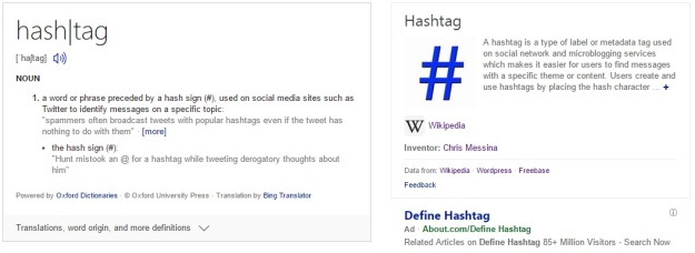Screenshot of the definition of hashtag from Bing Search Engine [Last accessed on 28/08/2016] Available from: Bing.com