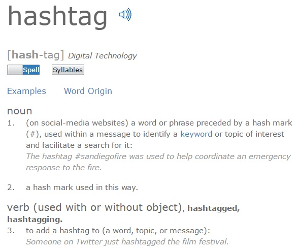 Screenshot of the definition of hashtag from dictionary.com [Last accessed on 28/08/206] Available from: dictionary.com