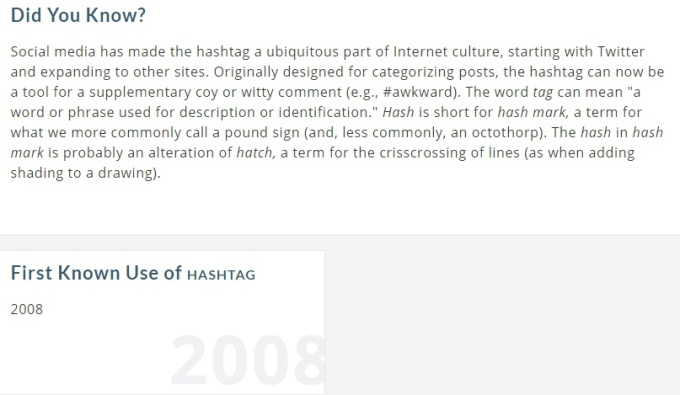 Screenshot of the Editor's note added to the definition of hashtag on Merriam-Webster's Learner's Dictionary [Last accessed on 28/08/206] Available from: Merriam-Webster's Learner's Dictionary