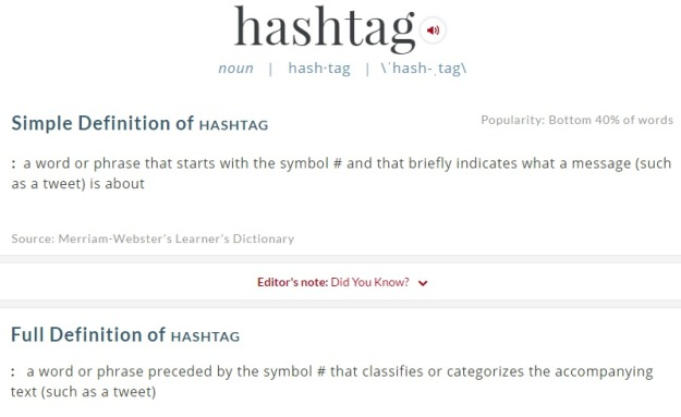 Screenshot of the definition of hashtag from Merriam-Webster's Learner's Dictionary [Last accessed on 28/08/206] Available from: Merriam-Webster's Learner's Dictionary