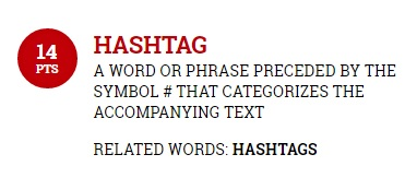 Screenshot of the definition of hashtag from the Official Scrabble Players Dictionary [Last accessed on 28/08/206] Available from: the Official Scrabble Players Dictionary