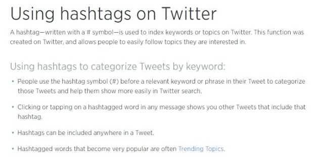 Screenshot of the definition of hashtag from Twitter [Last accessed on 28/08/2016] Available from: Twitter