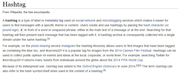 Screenshot of the definition of hashtag from Wikipedia [Last accessed on 28/08/2016] Available from: Wikipedia