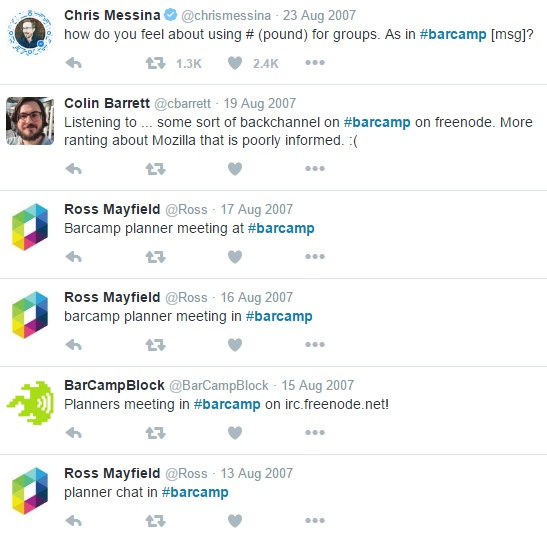 The historical first Tweets with a hashtag #barcamp [Last accessed on 28/08/2016] Available from: Twitter