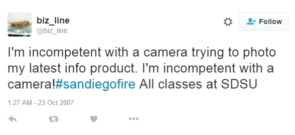 Figure 5: Screenshot of the first Tweet about San Diego fire posted with #sandiegofire hashtag from @biz_line account. [Last accessed on 28/08/2016] Available from: Twitter.com